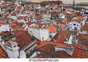 Red rooftops  of Lisbon, Portugal buildings