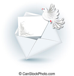 Open envelope and dove - Open envelope with paper for text...