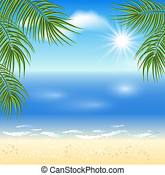 Sandy beach with palm trees and sun in the sky