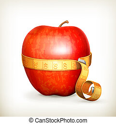 Tape measurement and apple, vector