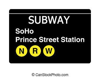 Soho Prince Street Station subway sign isolated on white,...