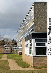 Modern school building - Exterior of modern school building,...