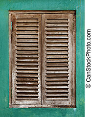 Old window with wooden lattice - Old vintage window with...