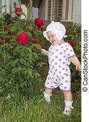 わずかしか, 花, バラ, 公園, かなり, 子供, 女の子, 微笑