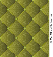 quilted fabric - quilted green background with ornaments