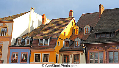 Colourful renaissance gables in Mulhouse, France, Alsace,...