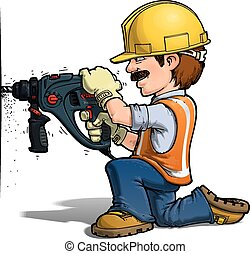 Construction Workers - Nailling - Cartoon illustration of a...
