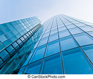 modern glass silhouettes of skyscrapers.   Business building