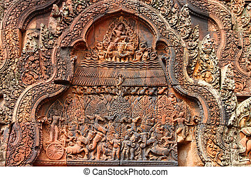 Pink stone carvings of Banteay Srei, Siemreap. - Pink stone...