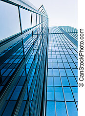 modern glass silhouettes of skyscrapers Business building -...