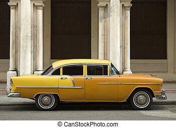old yellow american car