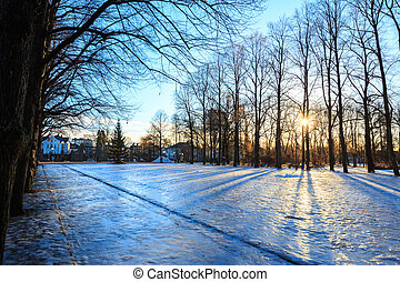 Vigeland park winter Oslo Norway - Sunrise at Vigeland park...