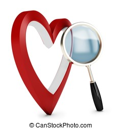 3d heart and magnify glass, concept searching for love on...