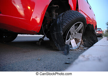 Car Accident - Front end of a vehicle after a car accident