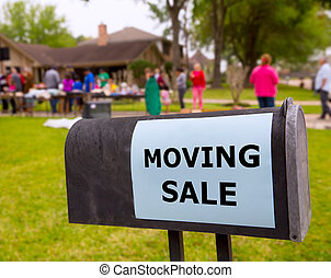 Moving sale in an american weekend on the yard green lawn