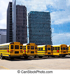 school bus row at Houston skyline photo mount - American...