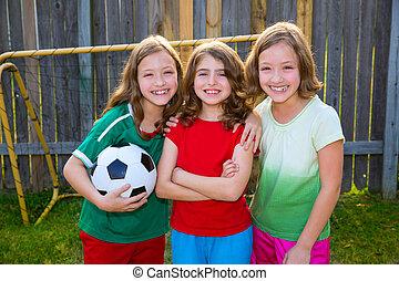 hermana, fútbol, ganador, niñas, tres, jugadores, futbol,...