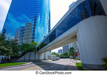 Houston downtown skyscrapers district blue sky mirror