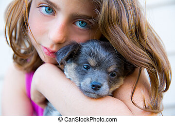 girl hug a little puppy dog gray hairy chihuahua doggy