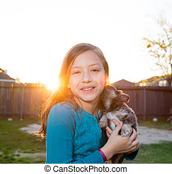 Chihuahua, perro, niños, niña, perrito, juego, niño