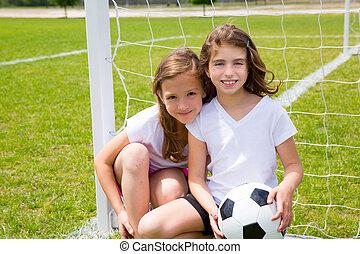 fútbol, niñas, campo, futbol, juego, niño
