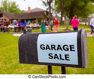 garaje, venta, norteamericano, fin de semana, Yarda