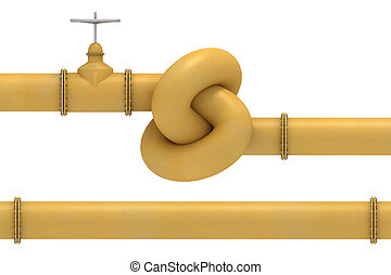 Yellow pipe knot and pipe segment - Yellow pipe valve tie in...
