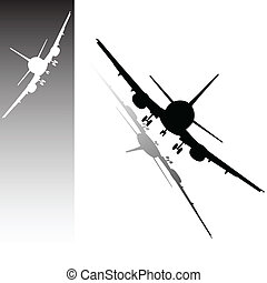 airplane vector illustration on a white and black