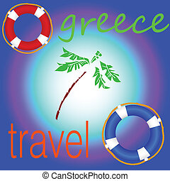 greece travel with live saver art vector