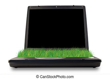 Green computer - Computer with grass in the place of...