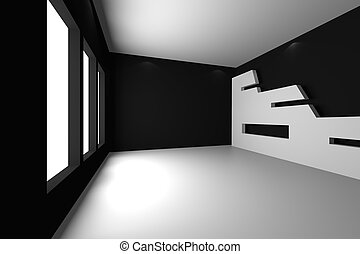 black empty room - Home interior rendering with empty room...