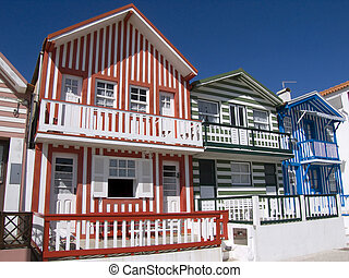 típico, pescador, casa, costa, Nova, -, PORTUGAL