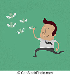 happy man hunting flying money , eps10 vector format
