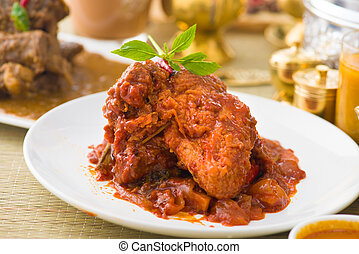 curry chicken rendang cooked in indian style with spicy...