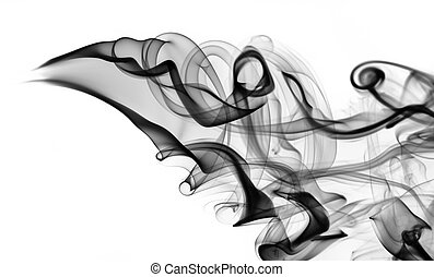 black smoke abstraction with swirls on white