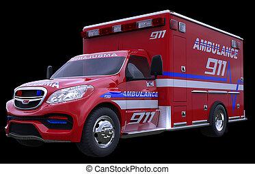 Emergency: ambulance vehicle isolated on black