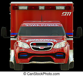 Ambulance: Front view of emergency services vehicle over...