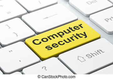 Protection concept: computer keyboard with word Computer Security, selected focus on enter button background, 3d render