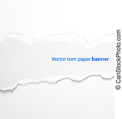 Torn paper banner - White torn paper rectangle banner with...
