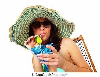 mulher, bebendo, coquetel