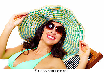 mujer, Llevando, gafas de sol, sombrero