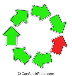 Loop of arrows - One red arrow in a loop of green arrows