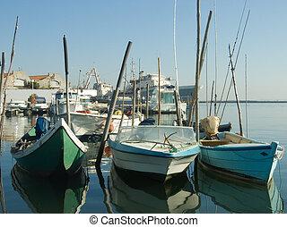 liten, skeppsdocka, båt
