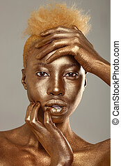 Stunning African Amercian Woman Painted With Gold - African...