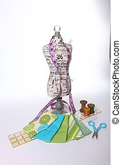 Colorful Sewing Notions on White Background - Sewing Notions...