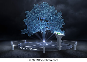 Keep off the Hologram - In a darken future the trees will be...
