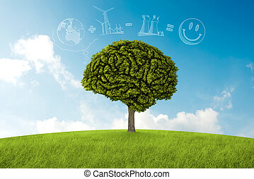 Natural consideration - Tree in the shape of brain thinks to...