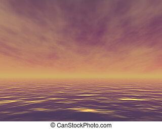Evening ocean - Beautiful ocean with golden waves in the...
