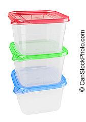 plástico, contenedor, alimento