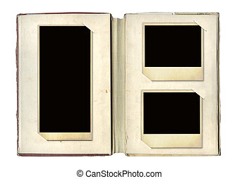 Photo album with retro photos. Objects isolated over white